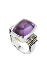 Women's Lagos 'Caviar Color' Large Semiprecious Stone Ring Amethyst