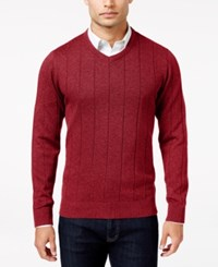 John Ashford Men's V Neck Striped Texture Sweater Only At Macy's Deep Ruby