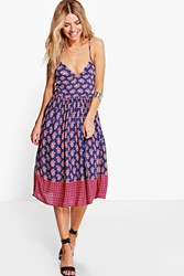 Boohoo Ditsy Tie Back Midi Dress Blue