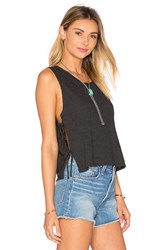 Lanston Side Tie Crop Tank Charcoal