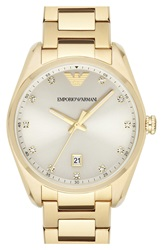 Emporio Armani Crystal Index Bracelet Watch 36Mm Gold