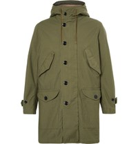 Saint Laurent Aint Faux Hearling Lined Cotton Blend Parka Army Green