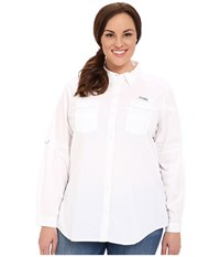 Columbia Plus Size Bonehead Ii L S Shirt White Women's Long Sleeve Button Up