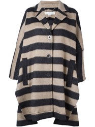 Stella Mccartney Oversize Striped Coat Nude Neutrals