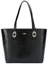 Armani Collezioni Embossed Crocodile Effect Tote Black