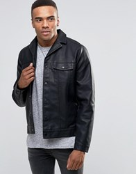 New Look Faux Leather Western Jacket With Revere Collar In Black Black