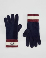 Fred Perry Tipped Gloves In Lambswool Navy