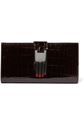 Opening Ceremony Misha Croc Effect Patent Leather Wallet Burgundy