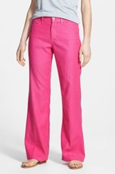 Nydj 'Wylie' Five Pocket Colored Stretch Linen Blend Trousers Petite Pink