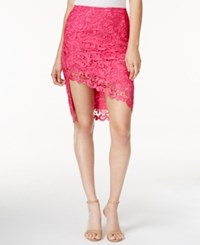 Guess Collena Asymmetrical Lace Skirt Beetroot Purple Multi
