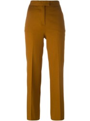 Msgm Cropped Tailored Trousers Brown