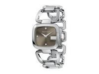 G Gucci 32Mm Stainless Steel Bracelet With Diamonds Watch Ya125401 Stainless Steel Brown Watches Silver