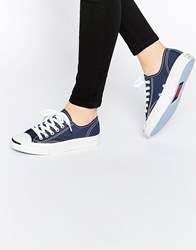 Converse Jack Purcell Blue Canvas Trainers Navy And White