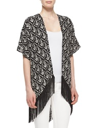 Romeo And Juliet Couture Printed Long Fringe Kimono Black White