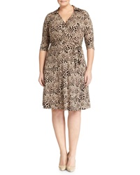 Vince Camuto Plus Animal Print Wrap Dress Palomino