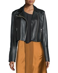 Elizabeth And James Gigi Cropped Leather Biker Jacket Black