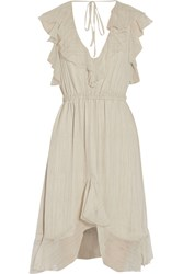 L'agence Sophie Ruffled Silk Chiffon Dress White