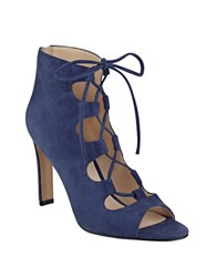 Nine West Unforgettable Lace Up Booties Navy Blue