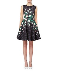 Erin Fetherston Floral Grid Fit And Flare Black Multi
