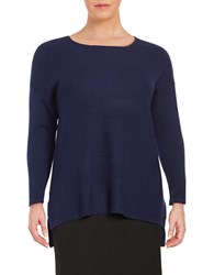 Lord And Taylor Plus Merino Wool Sweater Evening Blue