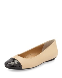 Neiman Marcus Shantell Leather Cap Toe Flat Pudding Bl