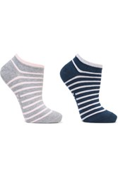 Falke Set Of Two Striped Cotton Blend Socks Stone