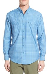 Men's Exofficio 'Outdoor Minimo' Regular Fit Quick Dry Spf Plaid Sport Shirt Riviera