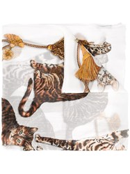 Dolce And Gabbana Bengal Cat Print Scarf White