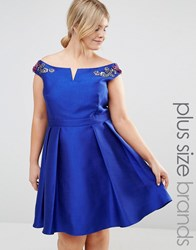 Little Mistress Plus Off Shoulder Bardot Mini Prom Dress With Floral Embellished Shoulders Blue