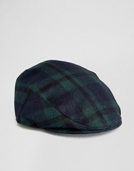Asos Flat Cap In Black Watch Check Navy Green Multi