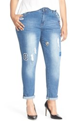 City Chic '80S Girl' Patch Detail Distressed Roll Cuff Jeans Dark Denim Plus Size Blue