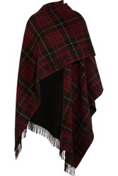 Alexander Mcqueen Reversible Fringed Tartan Wool Wrap Red