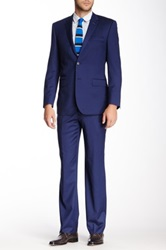 English Laundry Navy Solid Two Button Notch Lapel Wool Suit Blue