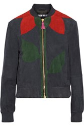 House Of Holland Paneled Suede Bomber Jacket Blue
