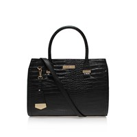 Carvela Holly Croc Zip Shoulder Strap Tote Bag Black