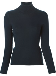 Cacharel Ribbed Roll Neck Sweater Blue