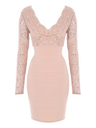 Jane Norman Lace Long Sleeve Bandage Dress Pastel Pink