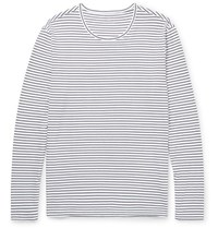 Club Monaco Slim Fit Striped Cotton T Shirt White
