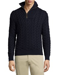Luciano Barbera Cable Knit Quarter Zip Wool Sweater Navy