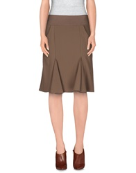 Manila Grace Denim Knee Length Skirts Khaki