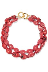 Kenneth Jay Lane Coral Bead Necklace Brick
