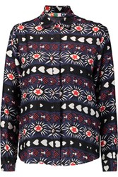 Msgm Printed Silk Twill Shirt Navy