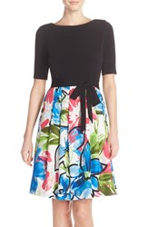 Women's Ellen Tracy Mixed Media Fit And Flare Dress
