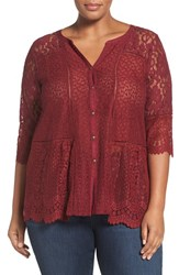 Lucky Brand Plus Size Women's Mix Lace And Jersey Top