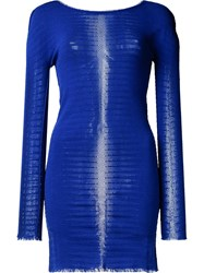 Issey Miyake Frayed Edge Striped Top Blue