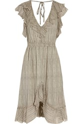 L'agence Sophie Ruffled Silk Chiffon Dress Gray