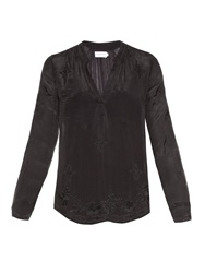 Velvet By Graham And Spencer Emmaline Embroidered Chiffon Blouse