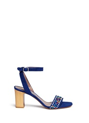 Tabitha Simmons 'Gia' Beaded Suede Single Strap Sandals Blue Multi Colour