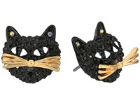Betsey Johnson Black Pave Cat Stud Earrings Black Earring