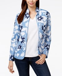 Alfred Dunner Quilted Floral Print Jacket Multi